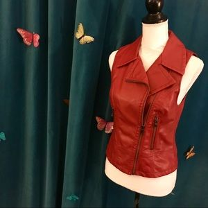 EXPRESS Maroon Red 'Minus The Leather' Moto Vest S